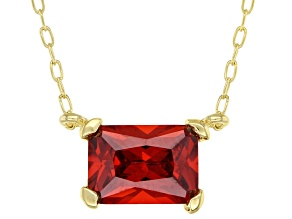 Orange Cubic Zirconia 18K Yellow Gold Over Sterling Silver Necklace 1.48ctw