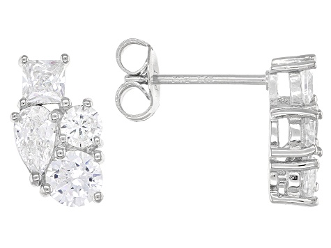 White Cubic Zirconia Rhodium Over Sterling Silver Cluster Earrings 2.28ctw