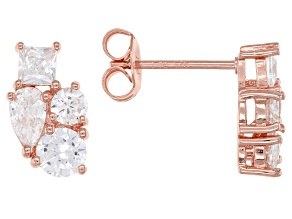 White Cubic Zirconia 18K Rose Gold Over Sterling Silver Cluster Earrings 2.28ctw