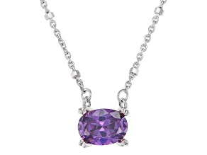 Purple Cubic Zirconia Rhodium Over Sterling Silver Station Necklace 1.93ctw