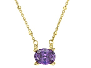 Purple Cubic Zirconia 18K Yellow Gold Over Sterling Silver Station Necklace 1.93ctw