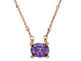 Purple Cubic Zirconia 18K Rose Gold Over Sterling Silver Station Necklace 1.93ctw