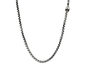 White Cubic Zirconia Rhodium Over Sterling Silver Mens Oxidized Skull Necklace 0.009ctw