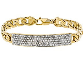 White Cubic Zirconia 18K Yellow Gold Over Sterling Silver Mens Bracelet 3.31ctw