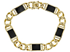 Black Agate And White Cubic Zirconia 18K Yellow Gold Over Silver Mens Bracelet 9.13ctw