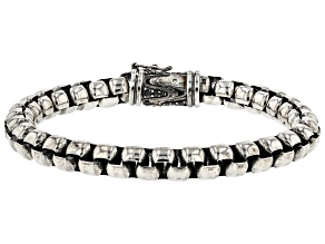 Black And White Cubic Zirconia Rhodium Over Silver Mens Oxidized Bracelet 0.70ctw