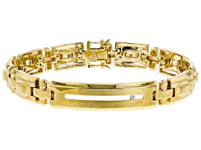 White Cubic Zirconia 18K Yellow Gold Over Sterling Silver Mens Bracelet 0.05ctw
