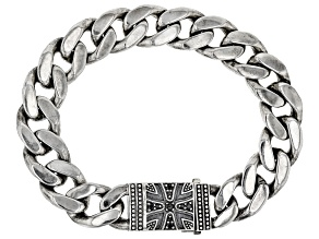 Black And White Cubic Zirconia Rhodium Over Silver Mens Oxidized Bracelet 0.53ctw