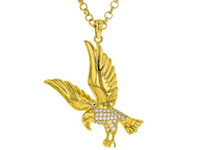 White Cubic Zirconia 18K Yellow Gold Over Sterling Silver Mens Eagle Pendant With Chain 0.53ctw