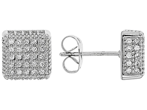 White Cubic Zirconia Rhodium Over Sterling Silver Mens Earrings 1.17ctw