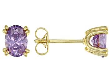 Picture of Purple Cubic Zirconia 18K Yellow Gold Over Sterling Silver Stud Earrings 2.31ctw