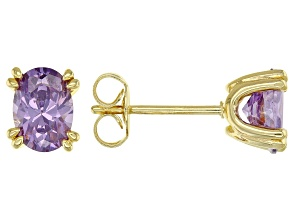 Purple Cubic Zirconia 18K Yellow Gold Over Sterling Silver Stud Earrings 2.31ctw