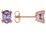 Purple Cubic Zirconia 18K Rose Gold Over Sterling Silver Stud Earrings 2.31ctw