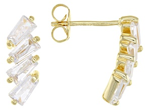 White Cubic Zirconia 18K Yellow Gold Over Sterling Silver Stud Earrings 2.65ctw