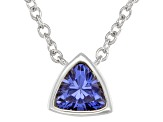 Blue Cubic Zirconia Rhodium Over Sterling Silver Necklace 0.34ctw