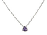 Purple Cubic Zirconia Rhodium Over Sterling Silver Triangle Necklace 0.38ctw
