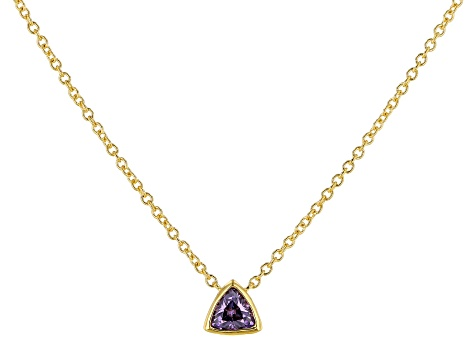 Purple Cubic Zirconia 18K Yellow Gold Over Sterling Silver Triangle Necklace 0.38ctw