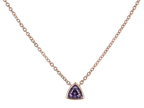 Purple Cubic Zirconia 18K Rose Gold Over Sterling Silver Triangle Necklace 0.38ctw