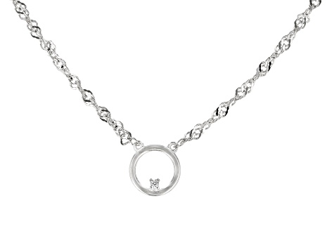 White Cubic Zirconia Rhodium Over Sterling Silver Necklace 0.01ctw