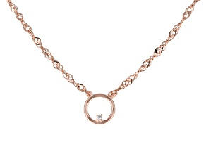 White Cubic Zirconia 18K Rose Gold Over Sterling Silver Necklace 0.01ctw