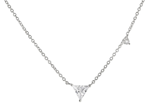 White Cubic Zirconia Rhodium Over Sterling Silver Triangle Necklace 0.70ctw