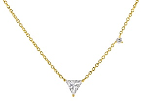 White Cubic Zirconia 18K Yellow Gold Over Sterling Silver Triangle Necklace 0.70ctw