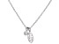 White Cubic Zirconia Rhodium Over Sterling Silver Leaf Pendant With Chain 0.10ctw