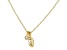White Cubic Zirconia 18K Yellow Gold Over Sterling Silver Leaf Pendant With Chain 0.10ctw