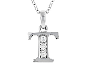 "White Cubic Zirconia Rhodium Over Sterling Silver ""T"" Pendant With Chain 0.17ctw"