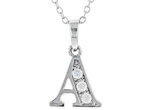"White Cubic Zirconia Rhodium Over Sterling Silver ""A"" Pendant With Chain 0.17ctw"