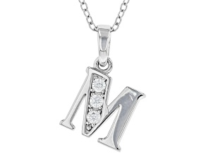 White Cubic Zirconia Rhodium Over Sterling Silver M Pendant With Chain 0.17ctw