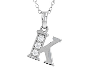 White Cubic Zirconia Rhodium Over Sterling Silver K Pendant With Chain 0.17ctw
