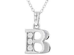 "White Cubic Zirconia Rhodium Over Sterling Silver ""B"" Pendant With Chain 0.17ctw"