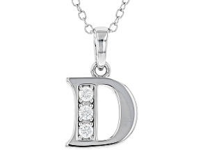 White Cubic Zirconia Rhodium Over Sterling Silver D Pendant With Chain 0.17ctw