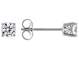 White Cubic Zirconia Rhodium Over Sterling Silver Stud Earrings 0.81ctw