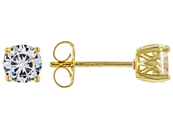 Picture of White Cubic Zirconia 18K Yellow Gold Over Sterling Silver Stud Earrings 1.62ctw