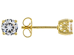 White Cubic Zirconia 18K Yellow Gold Over Sterling Silver Stud Earrings 1.62ctw