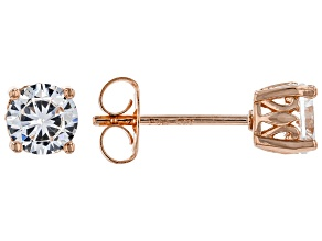 White Cubic Zirconia 18K Rose Gold Over Sterling Silver Stud Earrings 1.62ctw