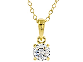 White Cubic Zirconia 18K Yellow Gold Over Sterling Silver Pendant With Chain 0.81ctw
