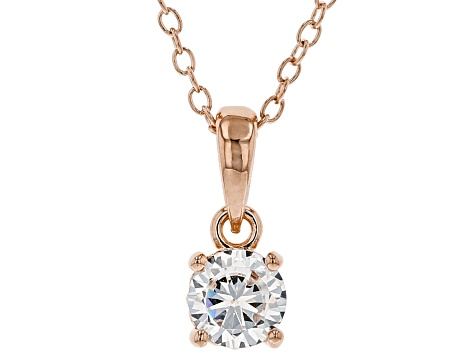 White Cubic Zirconia 18K Rose Gold Over Sterling Silver Pendant With Chain 0.81ctw