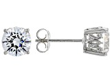 White Cubic Zirconia Rhodium Over Sterling Silver Stud Earrings 4.37ctw