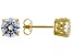 White Cubic Zirconia 18K Yellow Gold Over Sterling Silver Stud Earrings 4.37ctw