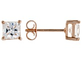 White Cubic Zirconia 18K Rose Gold Over Sterling Silver Stud Earrings 2.14ctw