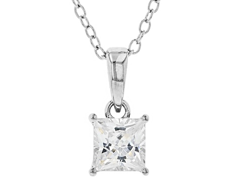 White Cubic Zirconia Rhodium Over Sterling Silver Pendant With Chain 1.07ctw