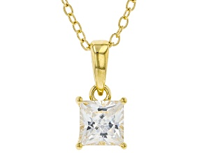 White Cubic Zirconia 18K Yellow Gold Over Sterling Silver Pendant With Chain 1.07ctw