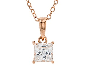 White Cubic Zirconia 18K Rose Gold Over Sterling Silver Pendant With Chain 1.07ctw