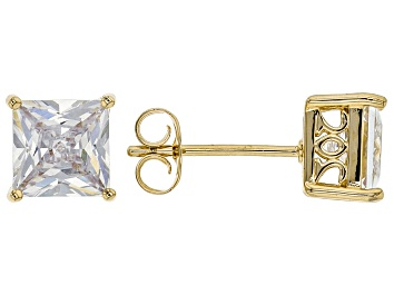 Picture of White Cubic Zirconia 18K Yellow Gold Over Sterling Silver Stud Earrings 3.37ctw