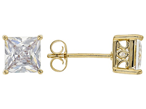White Cubic Zirconia 18K Yellow Gold Over Sterling Silver Stud Earrings 3.37ctw
