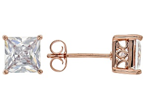 White Cubic Zirconia 18K Rose Gold Over Sterling Silver Stud Earrings 3.37ctw