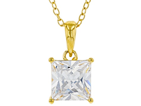 White Cubic Zirconia 18K Yellow Gold Over Sterling Silver Pendant With Chain 2.70ctw
